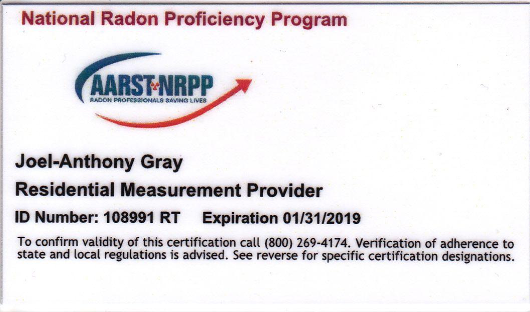 Certified Radon Testing Professional