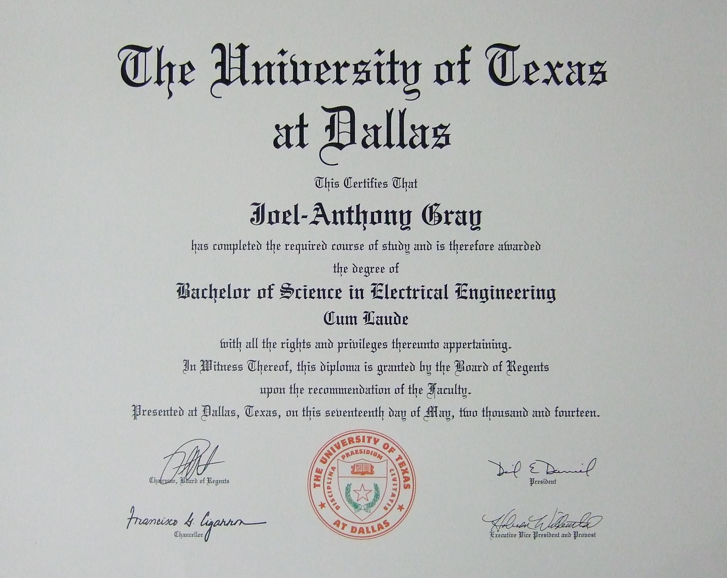 Joel-Anthony Gray BSEE Diploma Photo