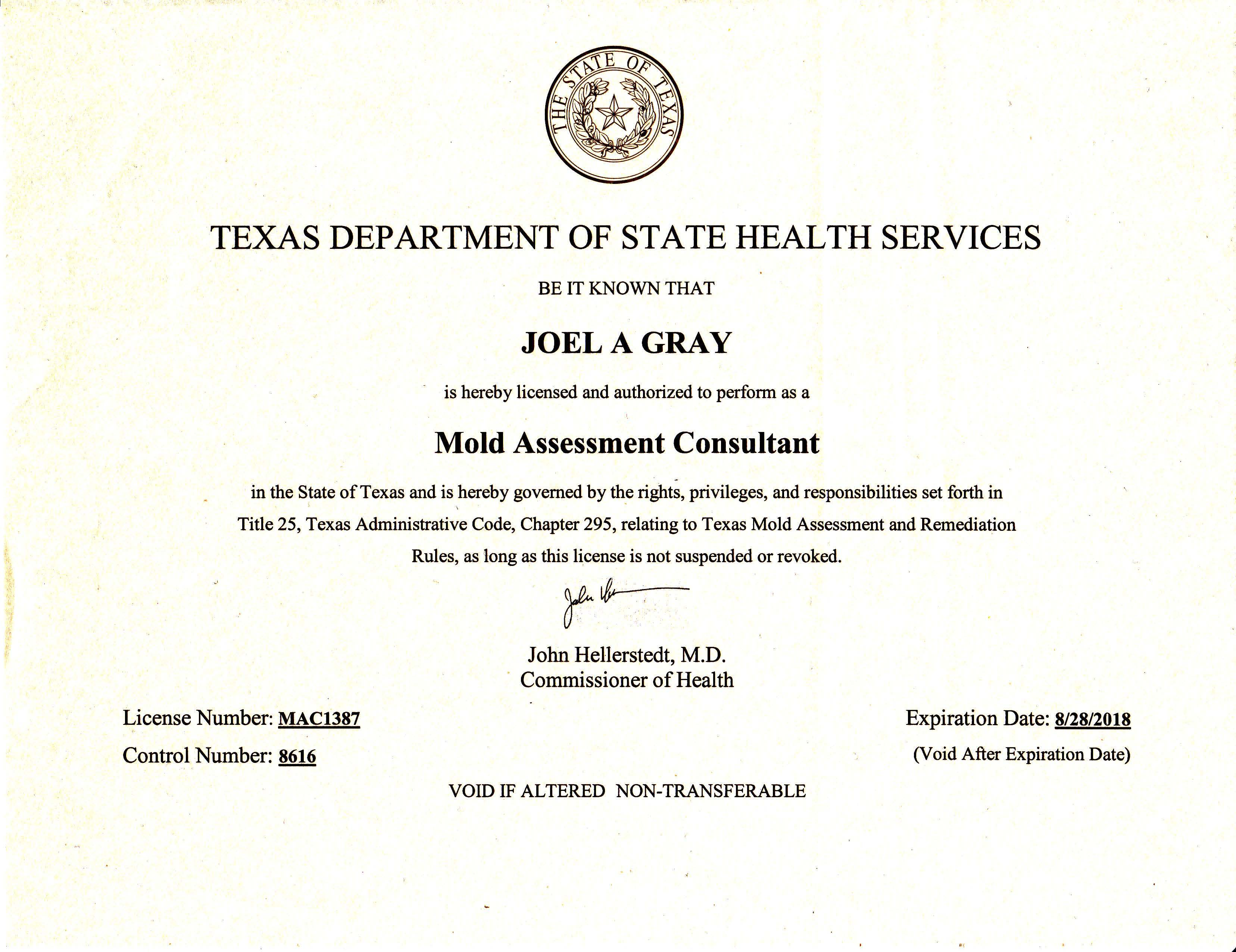 Joel-Anthony Gray Mold Assessment Consultant License Texas