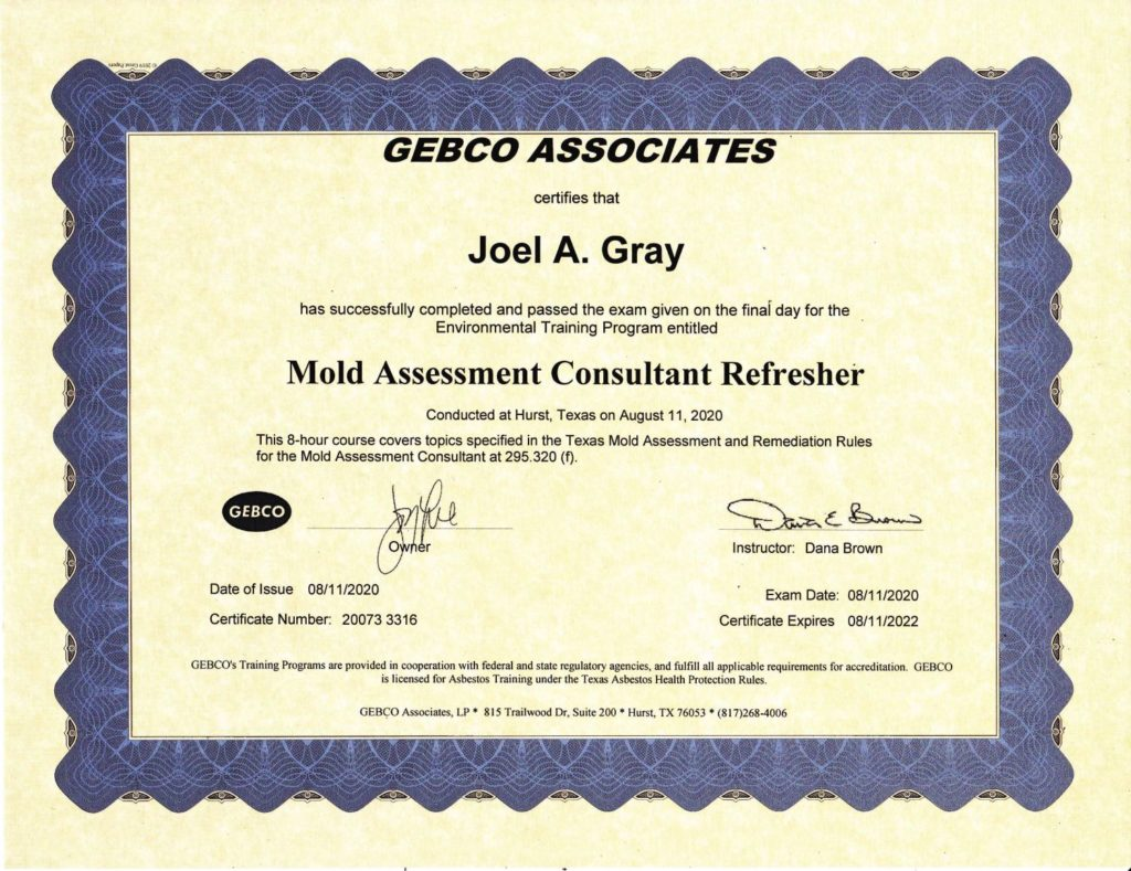 GEBCO Mold Assessment Certificate